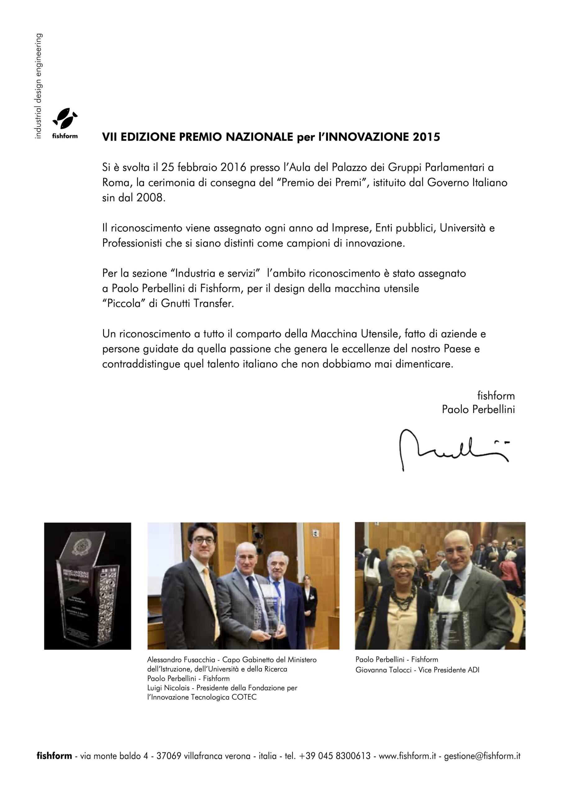premio INNOVAZIONE 2015